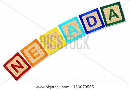 A collection of wooden block letters spelling Nevada over a white background