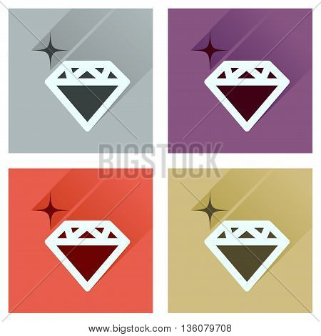 Concept of flat icons with long  shadow diamond shiny