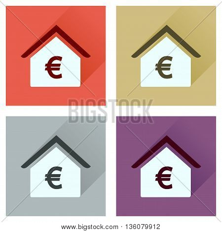 Concept of flat icons with long  shadow Bank building