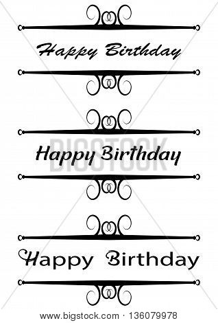 Poster with Happy Birthday text, ornamental text.