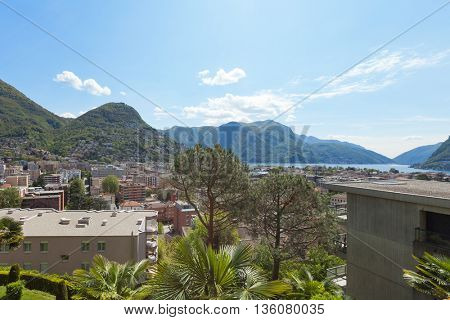 Lugano, panoramic view from the terrace of a building