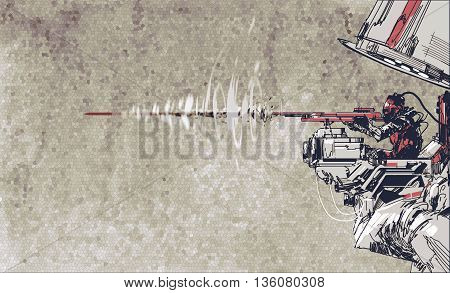 soldier shooting rifle with futuristic concept, hand draw illustration