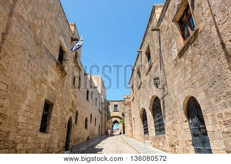 RHODES, GREECE - JUNE 9: The Avenue of the Knights in the heart of the Old Town of Rhodes, this was the street where the knights lived is Europe's best-preserved examples of a medieval street on June 9, 2016.
