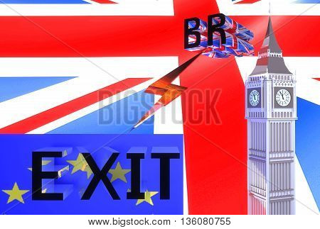 3D-illustration Large letters brexit on a background of red blue and white British flag and the EU flag and the model of the clock tower similar to London's Big Ben - illustration symbolizes Britain out of the EU
