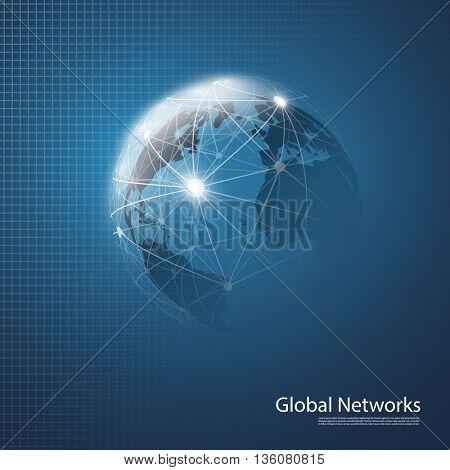 Cloud Computing and Networks Concept Design on a Blue Background