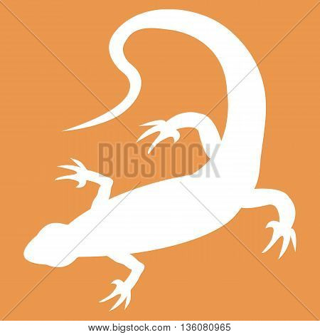 Stylized icon of lizard in white on a colored background