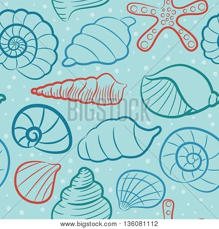 Vector seamless pattern with different cute seashells