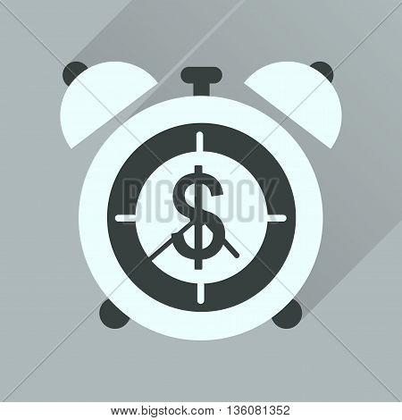 Flat icon with long  shadow alarm clock money
