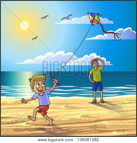 Summer vacation on the beach. Father and son are having fun on summer beach. Vector Illustration.