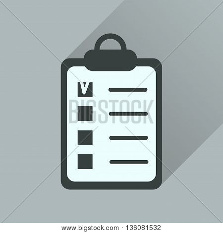 Flat icon with long  shadow Business questionnaire