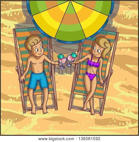 Summer tropical relax leasure scene on the beach. Happy couple are having fun on summer beach. Tourists on the beach. Vector Illustration.