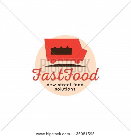 Vector cartoon fast food truck logo. Street cafe silhouette symbol.