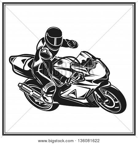 Biker riding a motorcycle monochrome vector illustration
