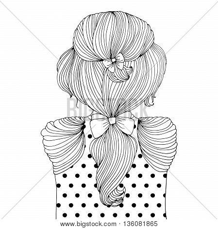 Vector drawing portrait of a young fashionable girl from the back. Girl with a ponytail hairstyle from wavy hair with bows, stylish blouse with printed peas and decorated with pleats. Romantic style