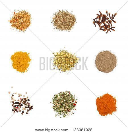 Spices set on white. Individual seasonings and mixes thereof