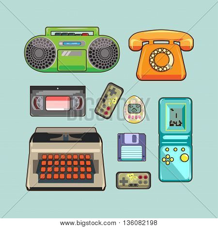 set of retro appliances gaming and video device the phone
