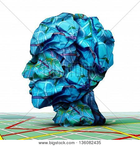 Human road map concept as a group of crumpled traffic map shaped as a head as a business or life direction metaphor in a 3D illustration style or mental health symbol.