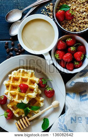 Breakfast Table With Waffles