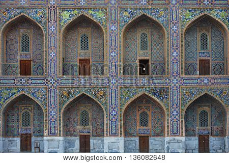 Arched doors and windows in the Registan Square, Samarkand.