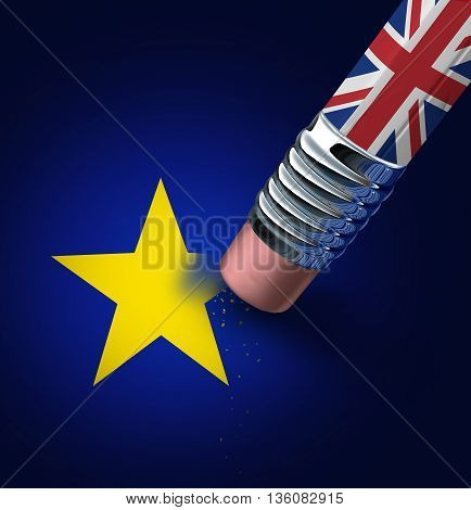 Britain European union exit decision as a brexit leave concept and UK leaving vote or Euro zone crisis as a pencil with the british flag erasing a star of the Europe icon as a 3D illustration.