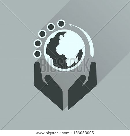 Flat icon with long  shadow Earth hands