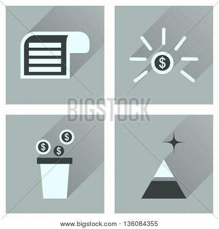 Concept of flat icons with  long shadow  economy