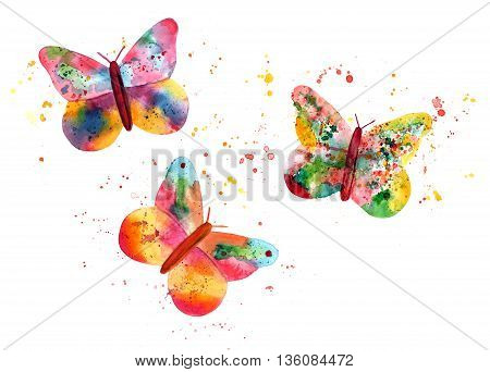A set of three colorful butterflies composed of splashes of paint with more watercolor paint marks on white background; a collection of vibrant design elements