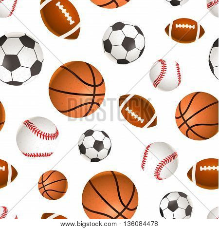 A lot of sport balls for soccer basketball baseball and rugby on white seamless pattern