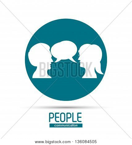 People and Communication concept represented by bubble with woman and man over circle  icon. Isolated and flat illustration