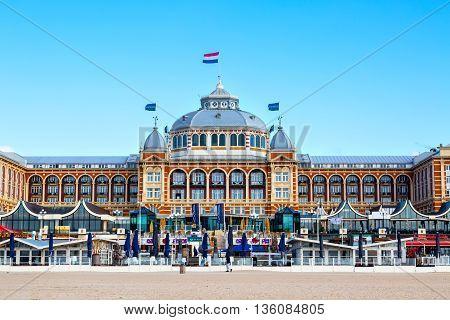 Scheveningen, Netherlands - April 7, 2016: Famous Grand Hotel Amrath Kurhaus View at Scheveningen beach near Hague, Holland, Netherlands
