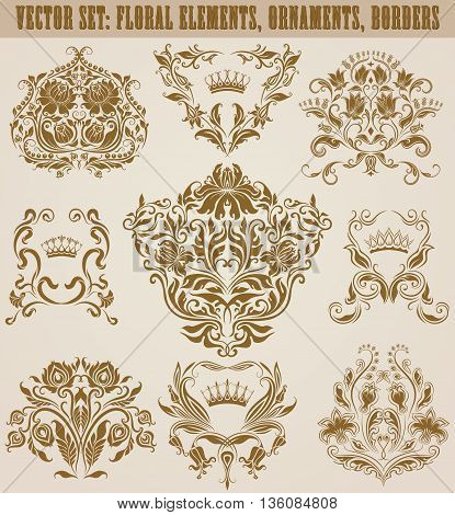 Set of vector damask ornaments. Hand-drawn floral elements, patterns, borders, arabesque, decorative victorian crowns and heraldic floral elements for design. Page decoration in vintage style.