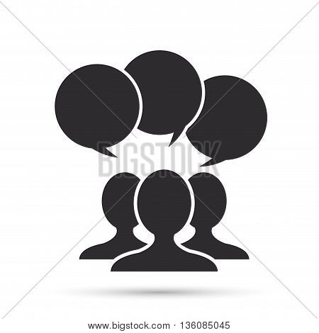 People and Communication concept represented by bubble and silhouette of person icon. Isolated and flat illustration