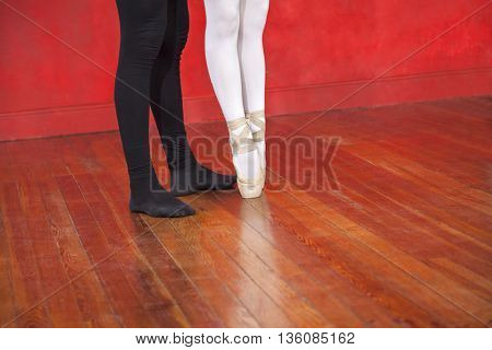 Trainer And Ballerina On Hardwood Floor