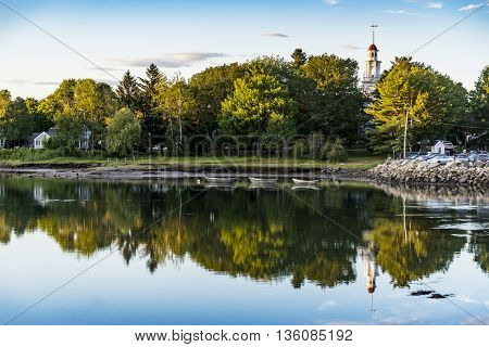 Nice view of the small harbour in Kennebunkport, Maine, USA