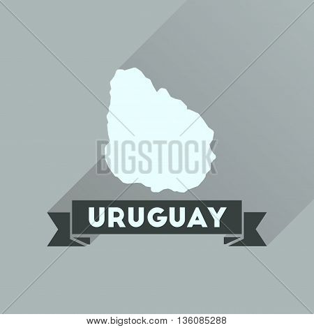 Flat icon with long  shadow map of Uruguay