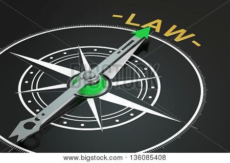 Law compass concept 3D rendering isolated on black background