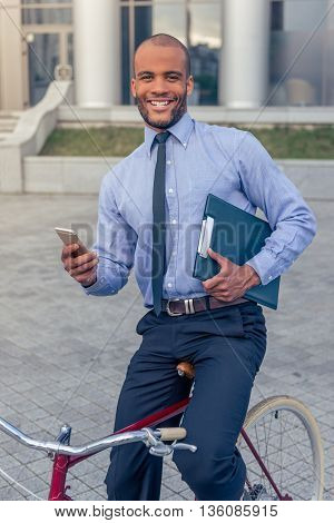 Afro American Businessman With Gadget