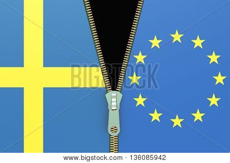 Sweden and EU relation concept. swexit referendum concept 3D rendering