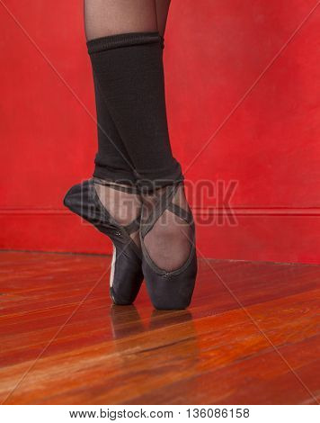 Ballet Dancer Standing On Pointe In Studio