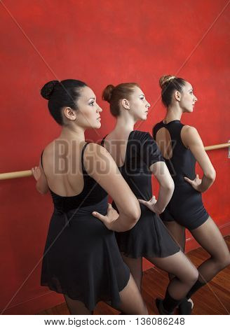 Ballerinas Practicing At Ballet Barre In Dance Studio