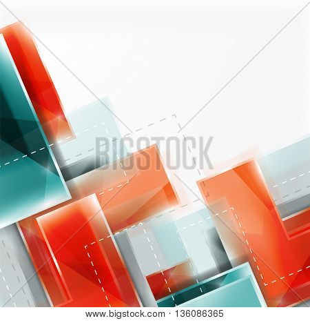 Arrow background. web brochure, internet flyer, wallpaper or cover poster design. Geometric style, colorful realistic glossy arrow shapes with copyspace. Directional idea banner