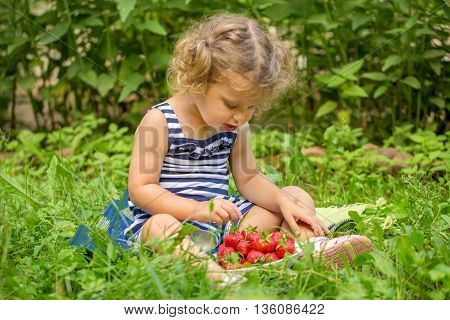 Baby kid eating strawberries sitting on green grass.