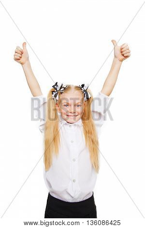 School child is happy and give thumbs up. Back to school! School concept isolated on white