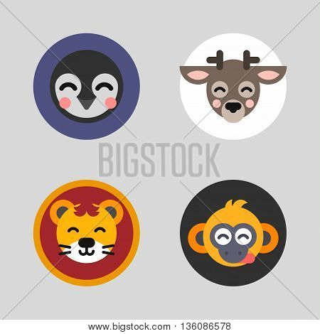 A set of four colored flat vector illustrations of animal heads. Pinguin deer lion monkey.