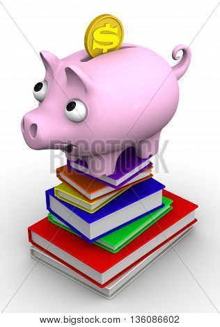 Pig piggy bank standing on a stack of books. The concept of saving on the purchase of books. Isolated. 3D Illustration