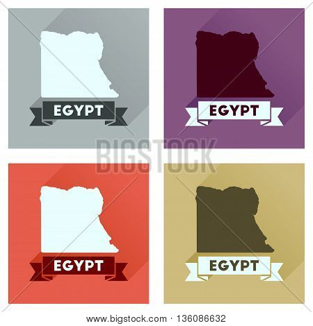 Concept flat icons with long  shadow map of Egypt