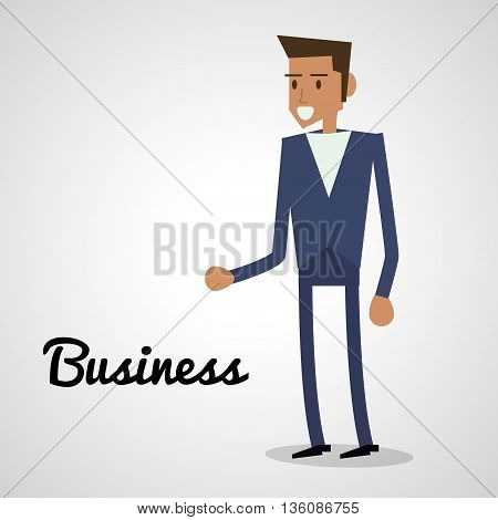 Business concept represented by man icon. Isolated and flat illustration