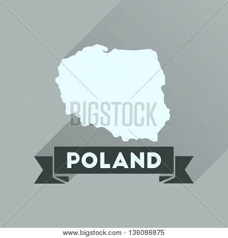Flat icon with long  shadow map of Poland