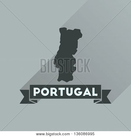 Flat icon with long  shadow Portugal map