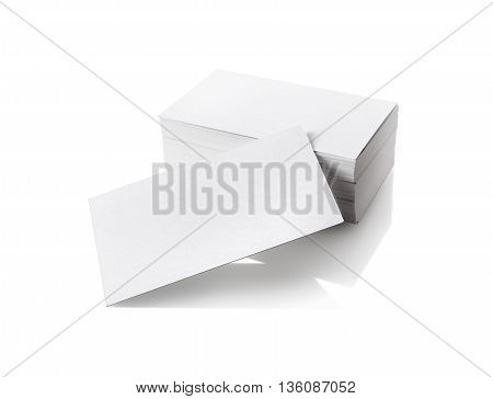 Photo of blank business cards isolated on white background. Template for branding identity. Mock-up for your design. Isolated with clipping path.